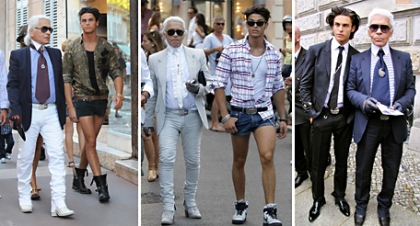 Karl Lagerfeld and Baptiste Giabiconi: taking runways to the streets