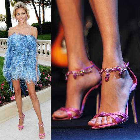 Anja Rubik wearing the Precious Sandals