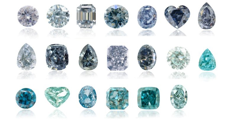 the type and hues of the blue diamonds