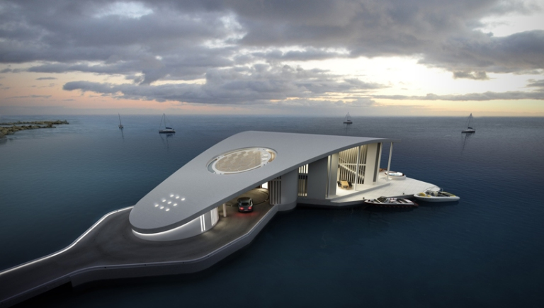A futuristic floating residence concept Sting Ray on the Aegean Sea