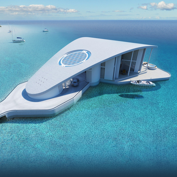 A futuristic floating residence concept called Sting Ray on the Aegean Sea