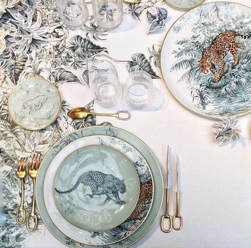 Hermés tableware featuring Robert Dallet illustration, called Carnets d'Équateur Porcelain Collection