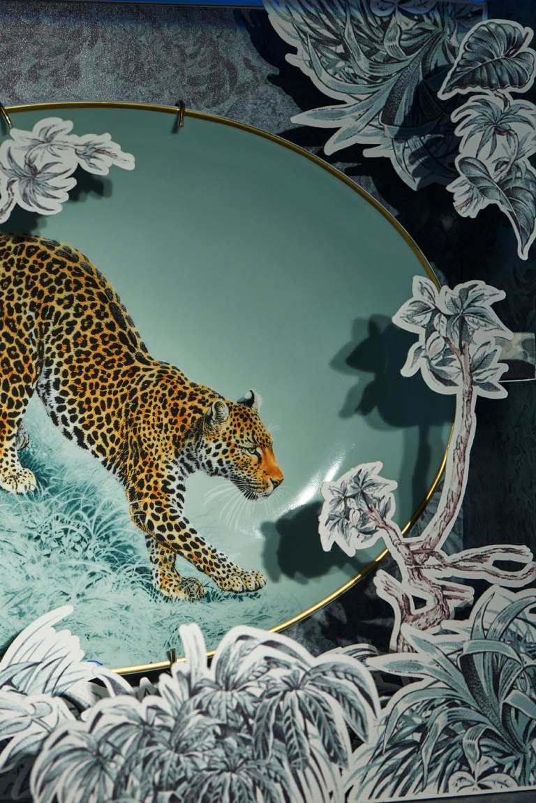 Hermés tableware featuring Robert Dallet illustration, called Carnets d'Équateur Porcelain Collection, wild life, tea cup, coffee cup, gold rim, panther, leopard