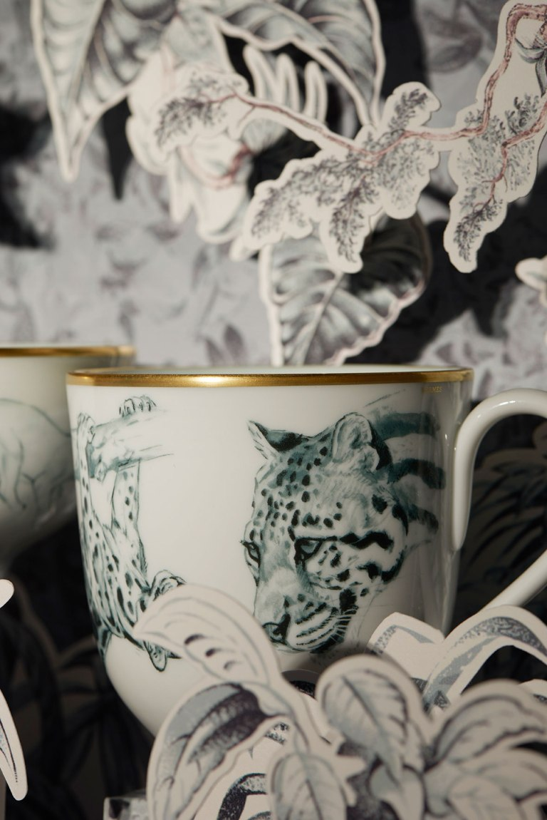 Hermés tableware featuring Robert Dallet illustration, called Carnets d'Équateur Porcelain Collection