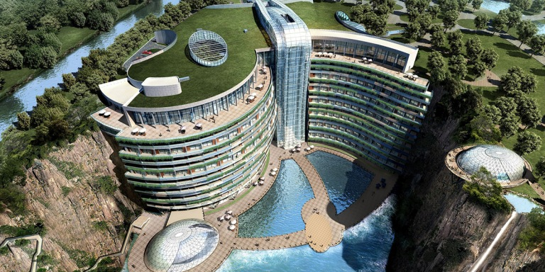 Intercontinental-Shanghai-quarry-underground-hotel-arial-view
