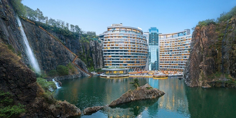 Intercontinental-Shanghai-quarry-underground-hotel-nature-cliffs