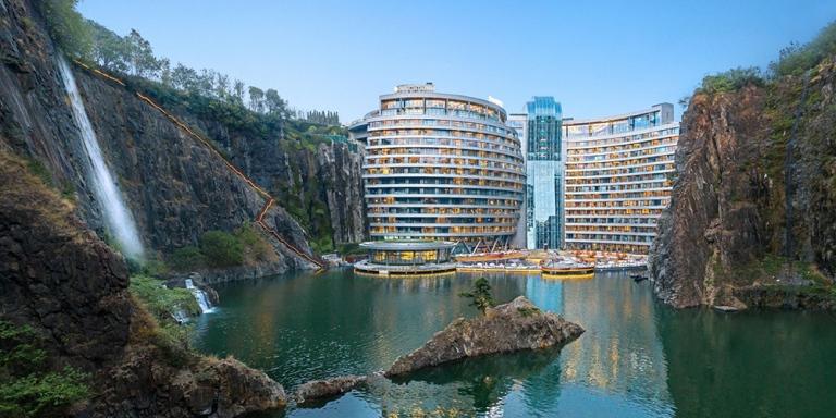 Intercontinental-Shanghai-quarry-underground-hotel-nature-cliffs
